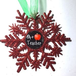 A+ TEACHER Christmas Snowflake Ornament
